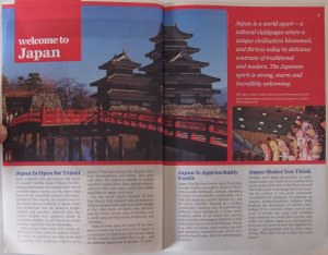 Picture of Welome to Japan page in Lonely Planet Guide