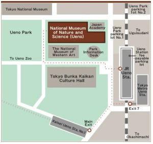 Ueno Park Museum of Nature and Science location map travel Japan Tokyo JaPlanning